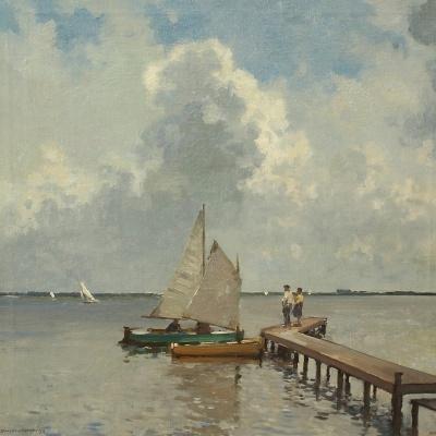 Cornelis Vreedenburgh (Woerden 1880-1946 Laren), gesign. l.o. en 1933, Loosdrechtse plassen met steiger, doek 50 x 50